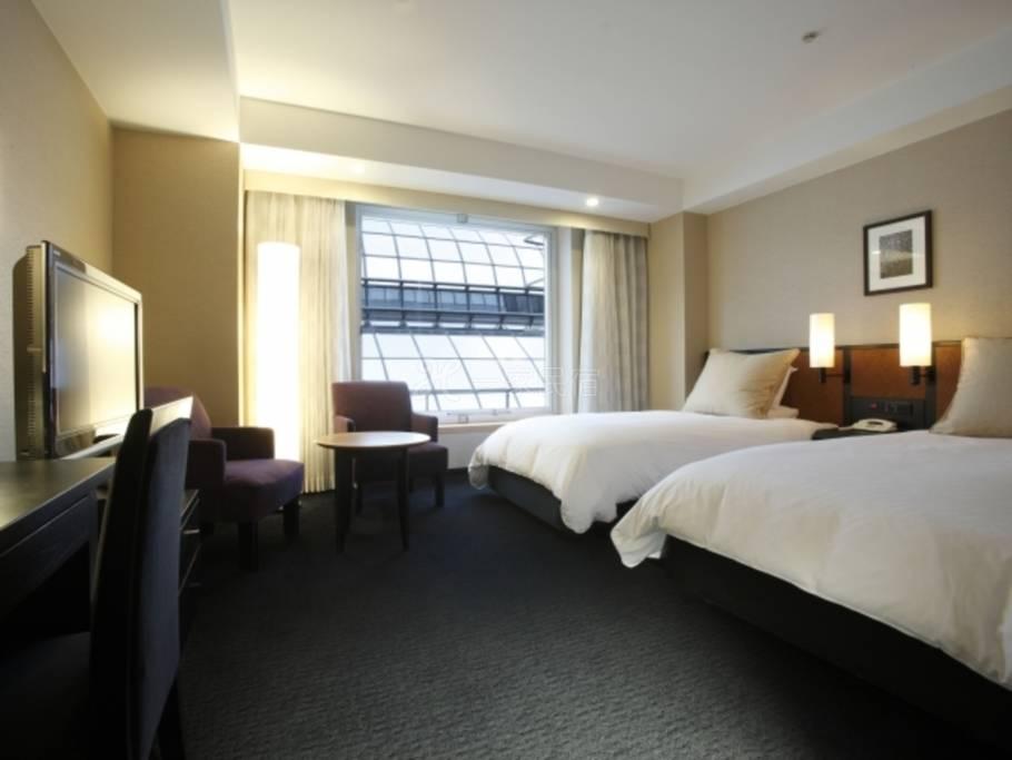 京都格兰比亚大酒店标准双床房Standard Twin 车站大楼内景观最优惠房价Best Rate ☆