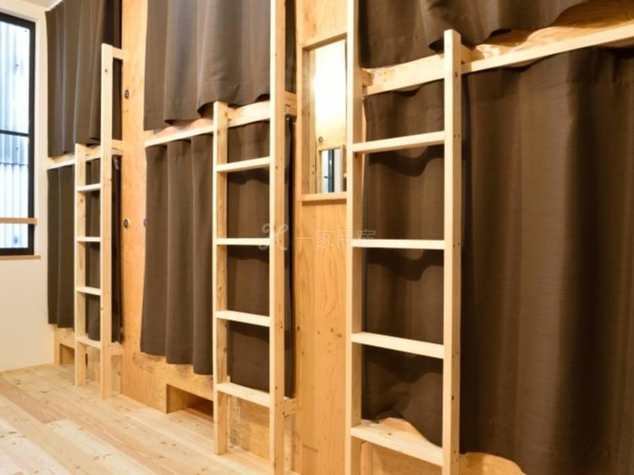 MITSUWAYA「男女共用」宿舍(12名客房) 可使用12张床铺中其中1张「早鸟特惠」30日前事先预约享优惠价入住