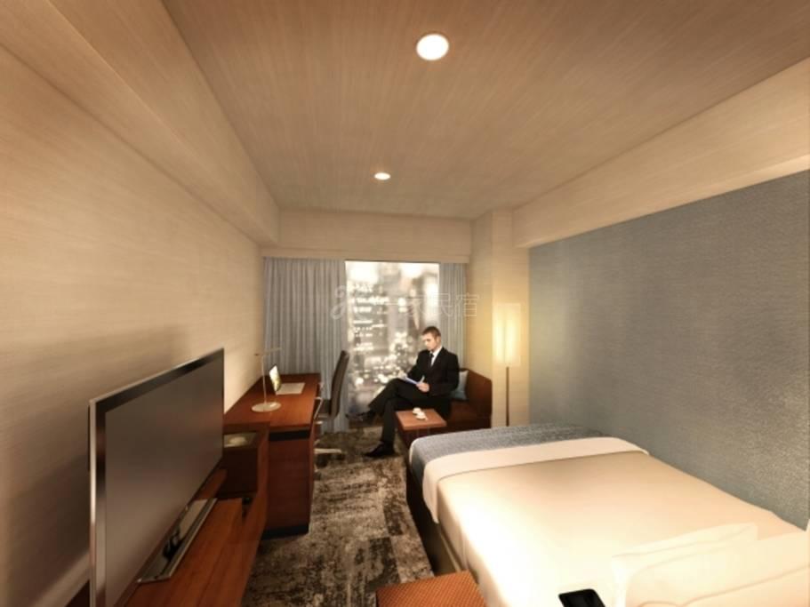 西新宿大和ROYNET饭店标准大床房禁烟Standard Twin【附早餐】简单方案