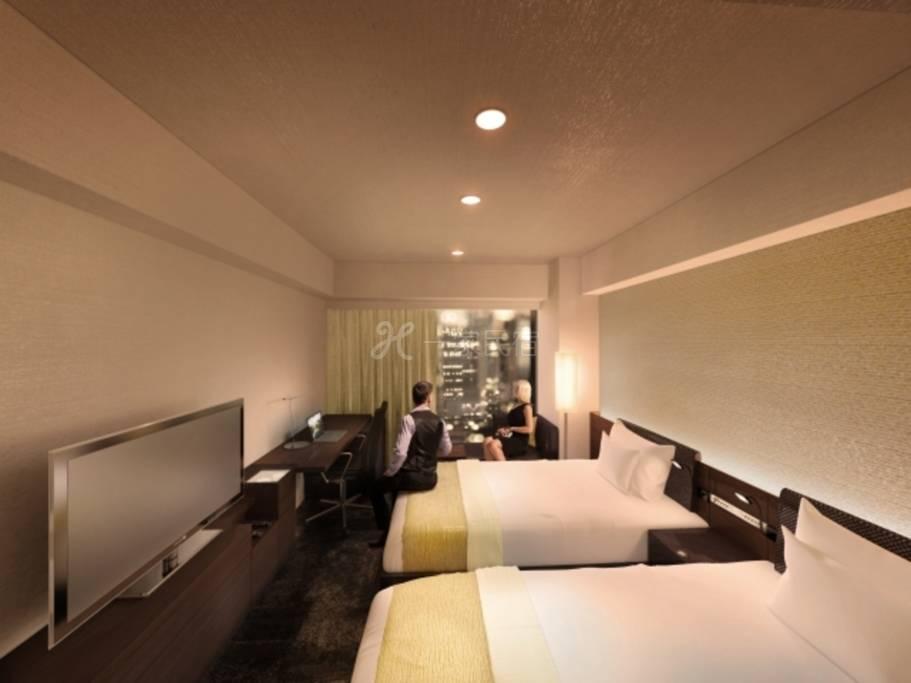 西新宿大和ROYNET饭店标准双床房吸烟Standard Twin【附早餐】简单方案