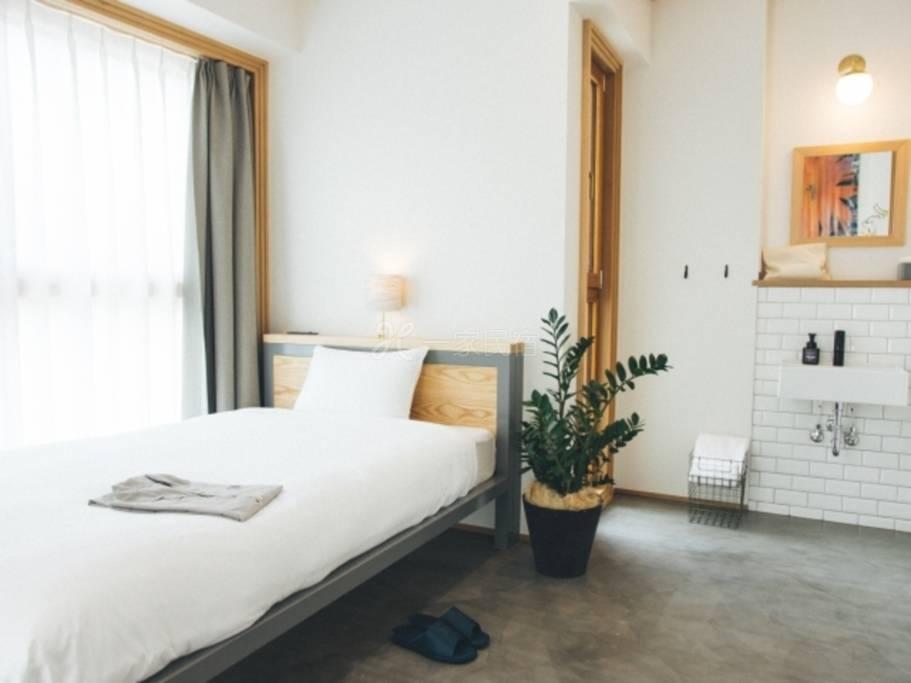 Hotel Noum OSAKA河景单人房(共用浴室)【WEB・房数限定】位于都市内却可感受自然的Noum入住(含早餐)
