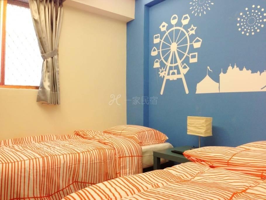 逢甲夜市雙床套房,2單人床