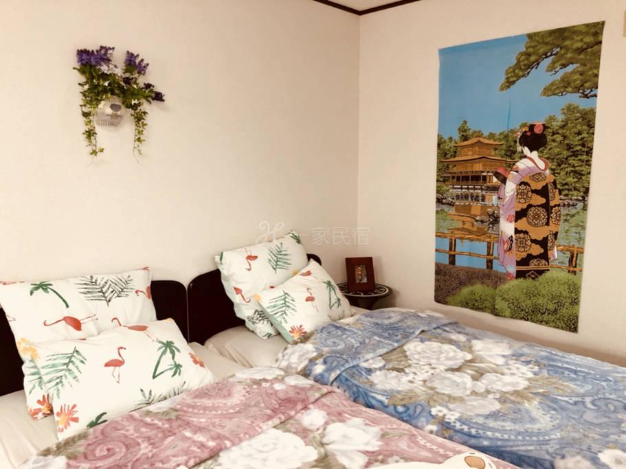 京都站免费接送3b双床房久保家巴士站一分钟自行车免费