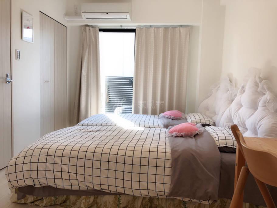 心斎桥.美国村.道顿堀 高级公寓 标准两张床